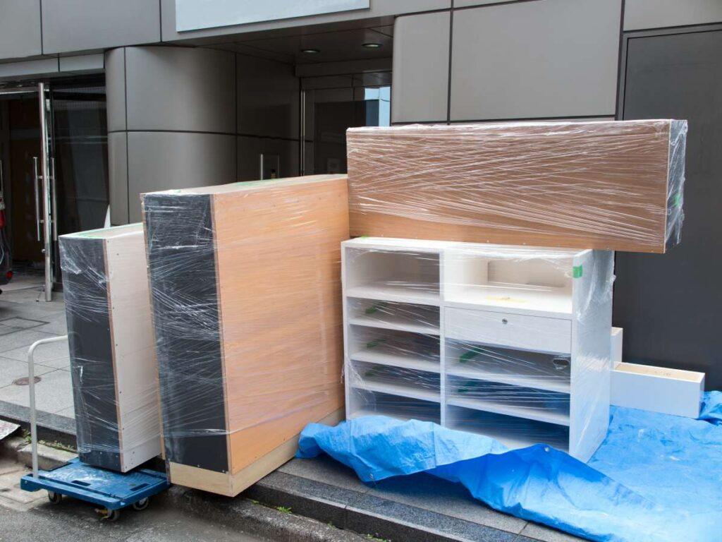 Packed wooden shelves